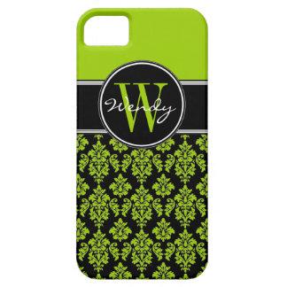 Personalized Lime Green Black Vintage Damask iPhone SE/5/5s Case