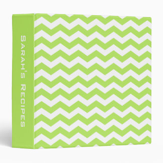 Personalized Lime Green Chevron Pattern Recipe Binder