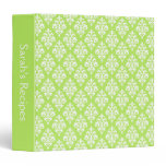 Personalized Lime Green Damask Recipe Binder