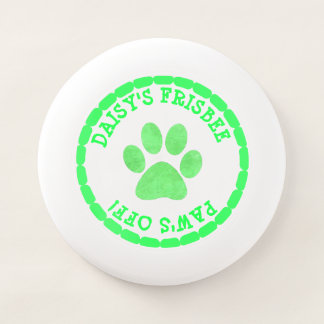 Personalized Lime Green Dog Paw print Frisbee
