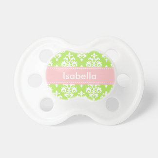 Personalized Lime Green Pink Baby Girl Pacifier BooginHead Pacifier