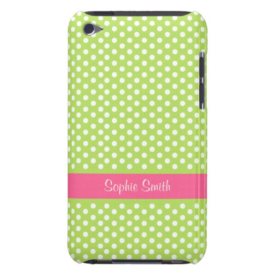 Personalized Lime Green Polka Dots iPod Touch Case