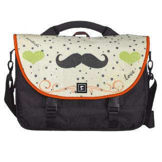 Personalized Lime Vintage Modern Mustache Heart Laptop Bag