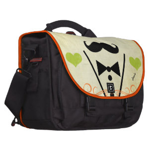 Personalized Lime Vintage Modern Mustache Heart Bag For Laptop