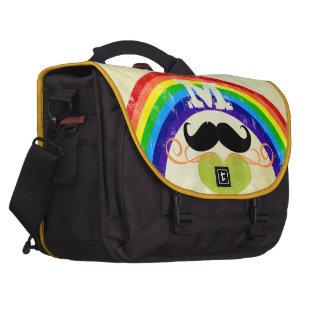 Personalized Lime Vintage Rainbow Mustache Heart Laptop Computer Bag