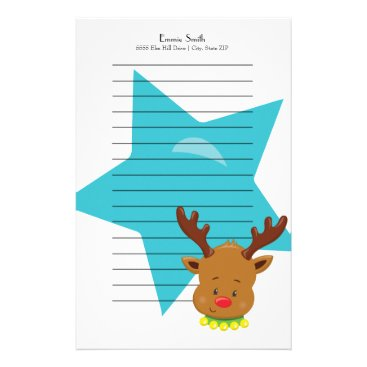 Professional Business Personalized Lined Christmas Reindeer Blue Star Stationery