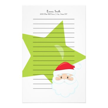 Professional Business Personalized Lined Christmas Santa Green Star Stationery