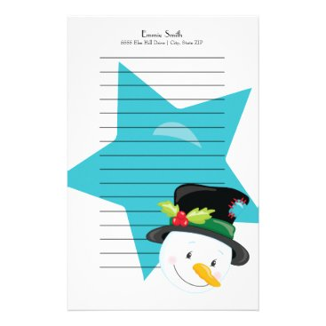 Professional Business Personalized Lined Christmas Snowman Blue Star Stationery