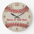 Personalized Linen look Baseball Clocks YOUR TEXT