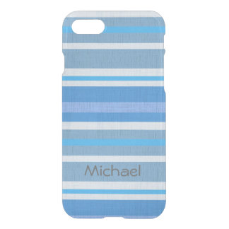 Personalized Linen Look Shades of Blue Stripes iPhone 7 Case