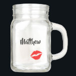 """Personalized Lipstick Print Mason Jar<br><div class=""""desc"""">A lovely creative and one of a kind gift for your significant other,  this mason jar is great for anniversaries,  birthdays,  or holidays. Displaying his name in black cursive font,  there is a pair of red lips underneath.   Personalize this mason jar today!</div>"""