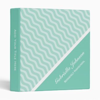 Personalized: Lite Green Waves Avery Binder