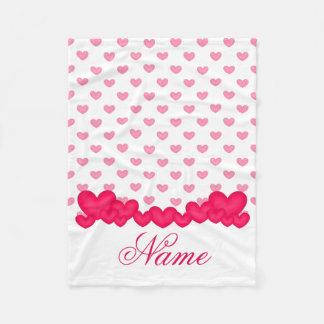 Personalized Little Baby Girl Pink White Heart Fleece Blanket