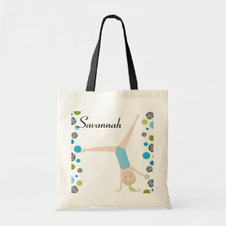 Personalized Little Blonde Gymnast in Aqua Budget Tote Bag
