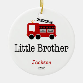 Personalized Little Brother Red Fire Truck Ornament