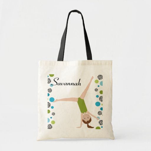 Personalized Little Brown Hair Gymnast in Green Canvas Bag