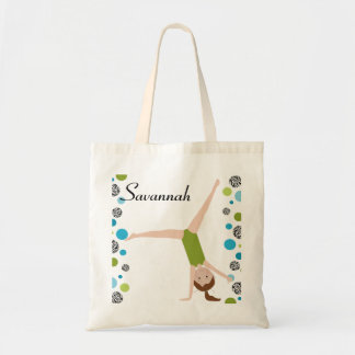 Personalized Little Brown Hair Gymnast in Green Tote Bag
