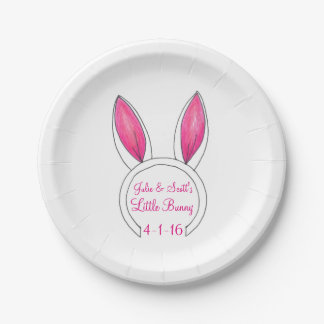 Personalized Little Bunny Baby Shower Easter Plate