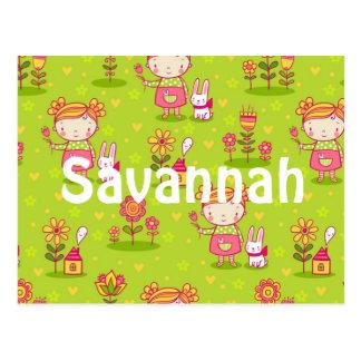 Personalized Little Girl Bunny Garden Postcard