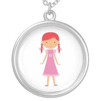 Personalized Little Girl Necklace with Red Braids