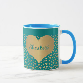 Personalized Little Gold Hearts on Teal Background Mug