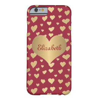 Personalized Little Gold Hearts on Wine Red Barely There iPhone 6 Case