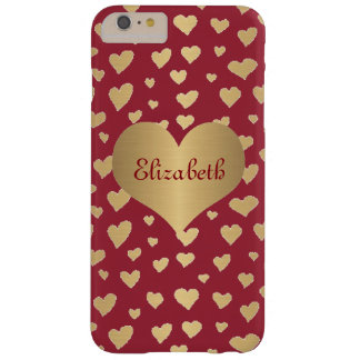 Personalized Little Gold Hearts on Wine Red Barely There iPhone 6 Plus Case