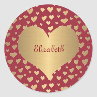 Personalized Little Gold Hearts on Wine Red Classic Round Sticker