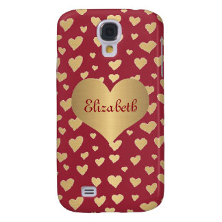 Personalized Little Gold Hearts on Wine Red Galaxy S4 Cover