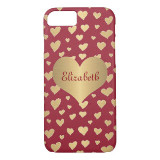 Personalized Little Gold Hearts on Wine Red iPhone 8/7 Case