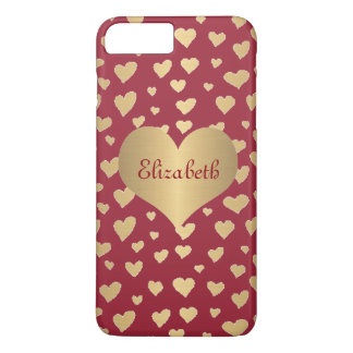 Personalized Little Gold Hearts on Wine Red iPhone 8 Plus/7 Plus Case