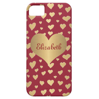 Personalized Little Gold Hearts on Wine Red iPhone SE/5/5s Case