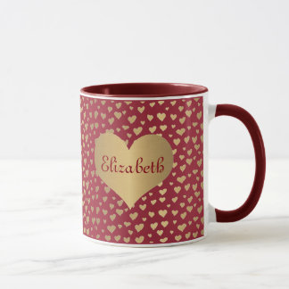 Personalized Little Gold Hearts on Wine Red Mug
