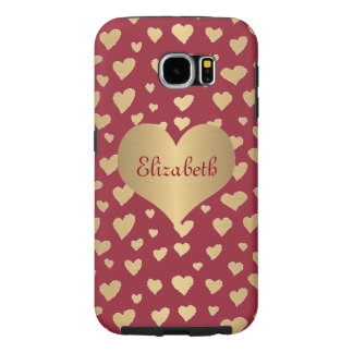 Personalized Little Gold Hearts on Wine Red Samsung Galaxy S6 Case