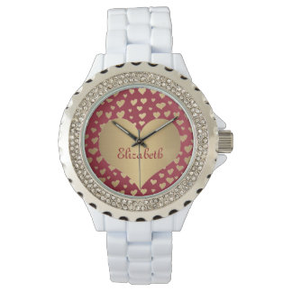 Personalized Little Gold Hearts on Wine Red Wristwatch