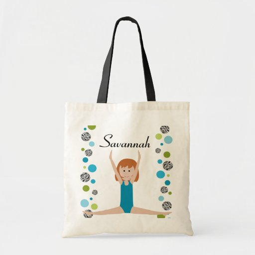 Personalized Little Gymnast in Aqua and Green Canvas Bags