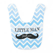 Personalized Little Man Mustache Chevron Boy Bib