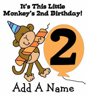 Personalized Little Monkey 2nd Birthday T Shirt