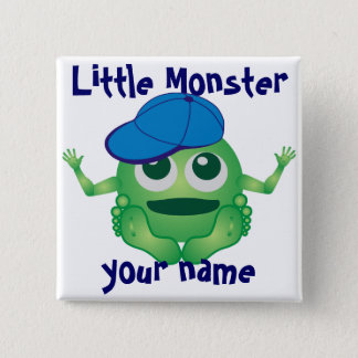 Personalized Little Monster Boy Button