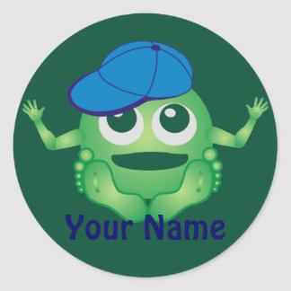 Personalized Little Monster Boy Green Blue Classic Round Sticker