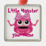 Personalized Little Monster Girl Square Metal Christmas Ornament