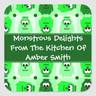 Personalized Little Monster Pattern Labels Square Sticker
