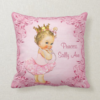 Personalized Little Princess Ballerina Pink Throw Pillow