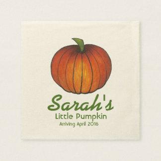 Personalized Little Pumpkin Baby Shower Napkins
