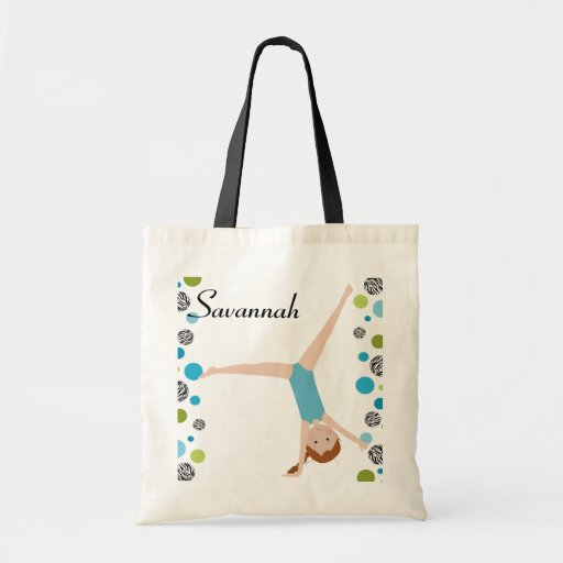 Personalized Little Red Hair Gymnast in Aqua Canvas Bags
