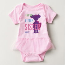 Personalized little sister superhero silhouette baby bodysuit