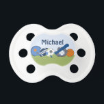 """Personalized Little Sports Player Pacifier<br><div class=""""desc"""">This adorable Personalized Little Sports Player pacifier makes a great gift and coordinates with other items in my Zazzle store.</div>"""