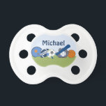 "Personalized Little Sports Player Pacifier<br><div class=""desc"">This adorable Personalized Little Sports Player pacifier makes a great gift and coordinates with other items in my Zazzle store.</div>"