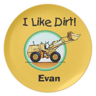 Personalized Loader I Like Dirt Kids Plate