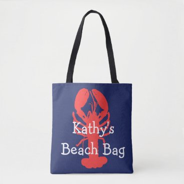 Beach Themed Personalized Lobster Beach Bag with anchors